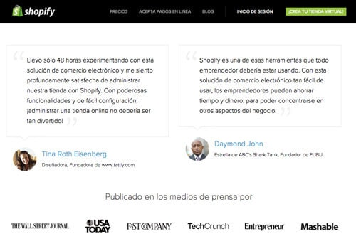 Landing Page de Shopify: Testimonios con identificación.