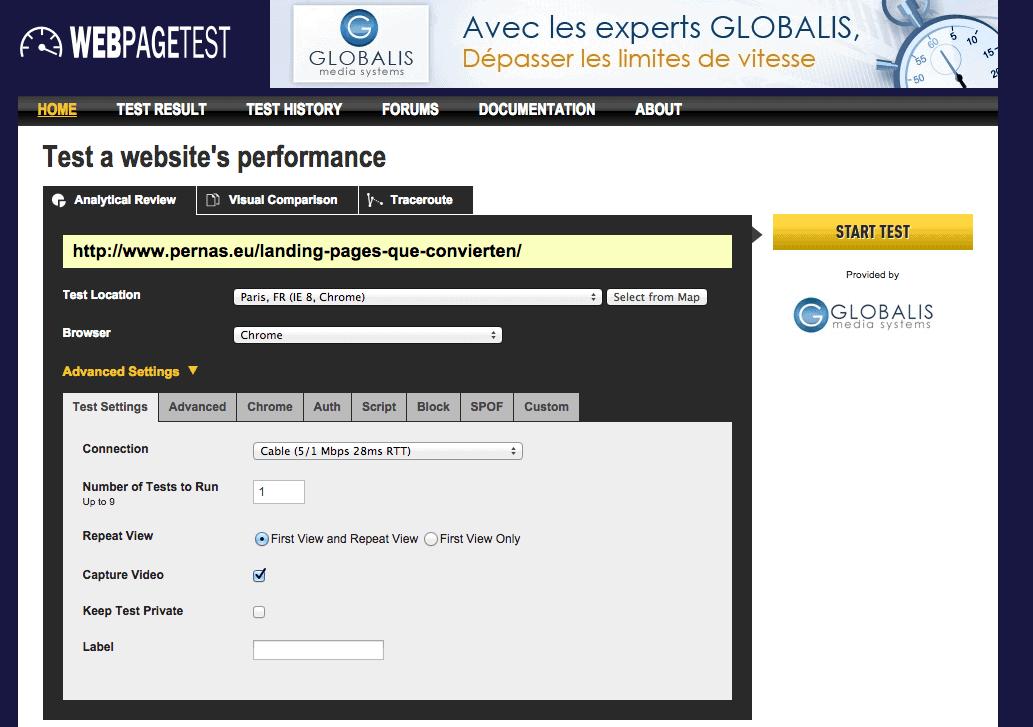 Uno de los puntos fuertes de WebPageTest es el alto grado en que se pueden configurar los test realizados