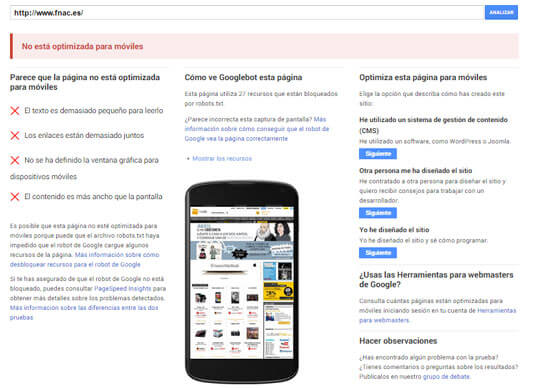 La web de FNAC no pasa el test de Google Mobile Friendly