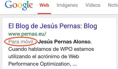 """Google añade """"Para móvil"""" en las SERPs de las web que están optimizadas."""