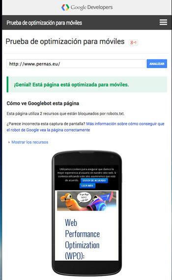 Realiza el test de Google para saber si tu web está adaptada al nuevo algoritmo