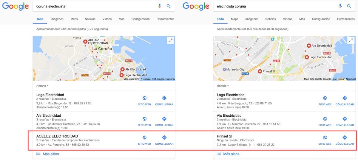 Con Google Possum el orden de los términos de búsqueda cambia ligeramente las SERPs locales
