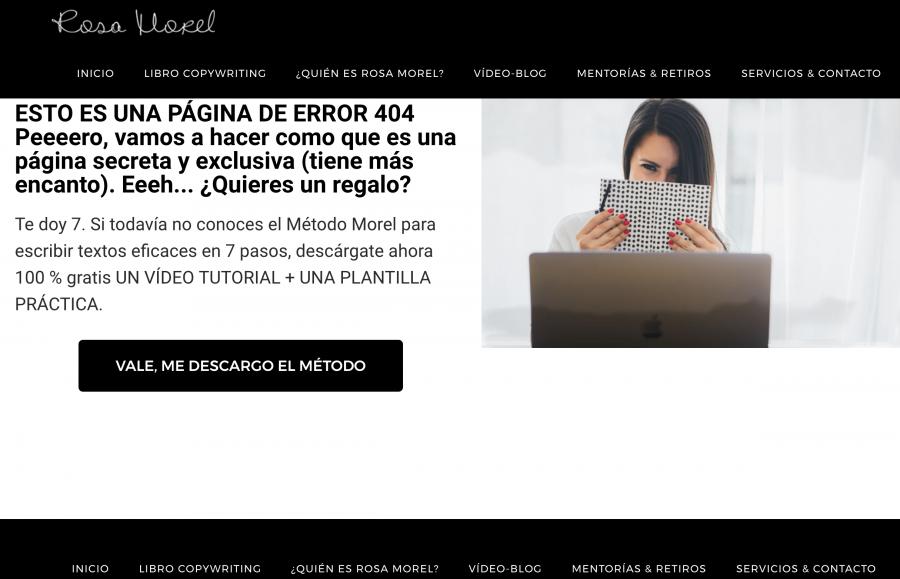 En la página de error 404 de Rosa Morel te regalan un curso de copywrite