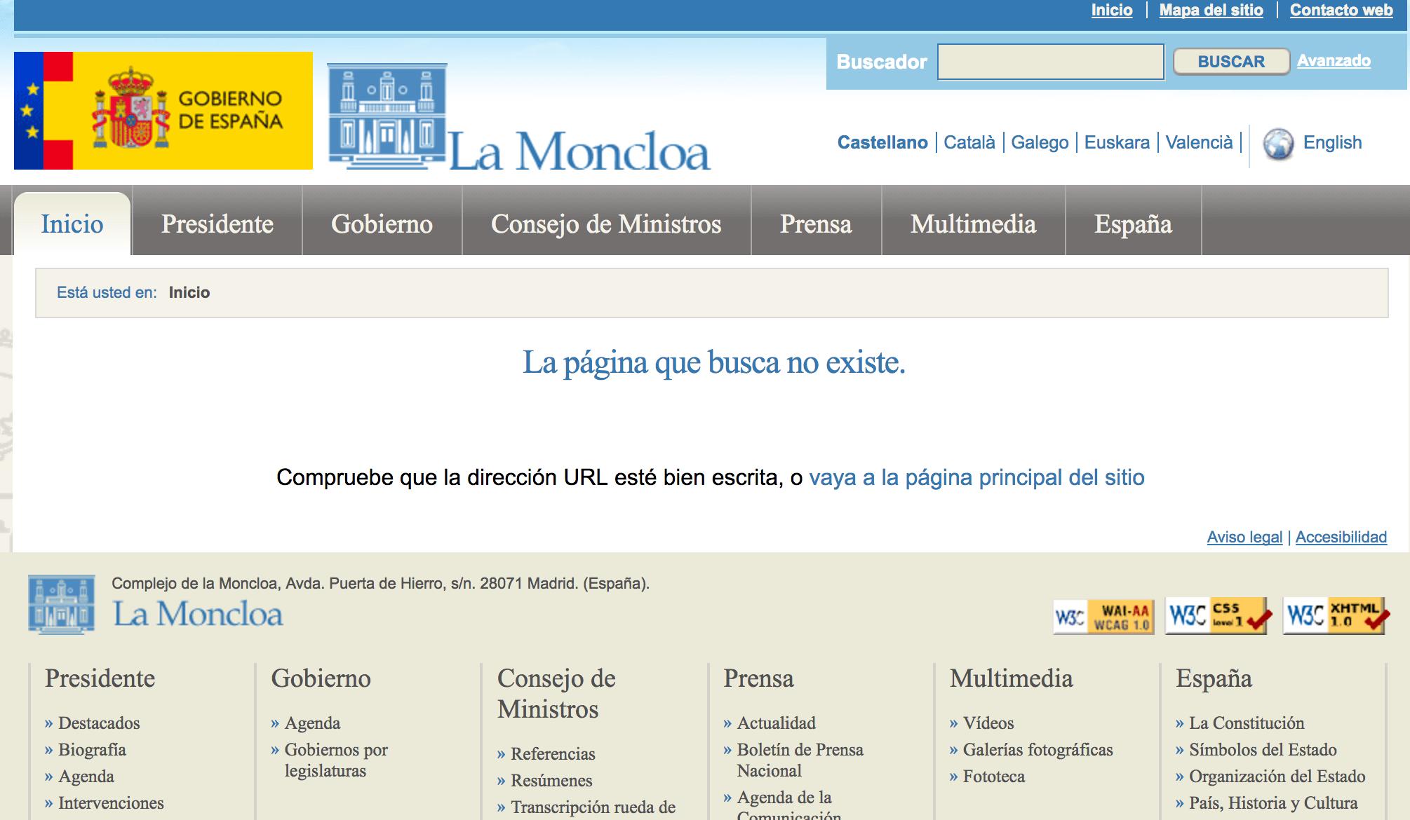 En la página 404 del gobierno de España te indican que compruebes la dirección
