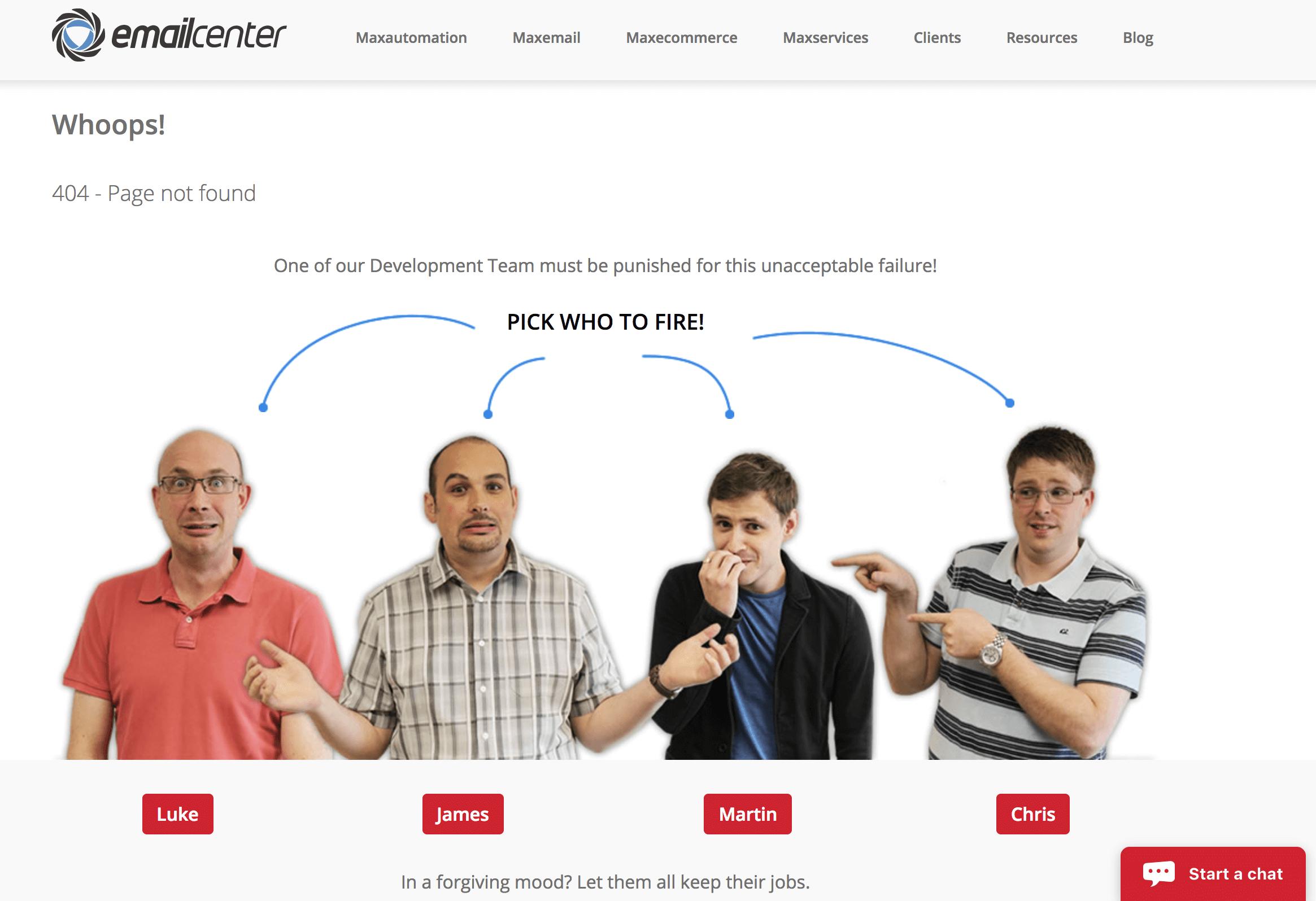 Si llegas a la página de error 404 puedes despedir a uno de sus empleados