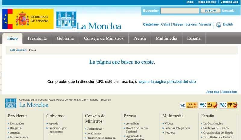 En la página 404 del gobierno de España se sigue culpando a los usuarios de estos errores.