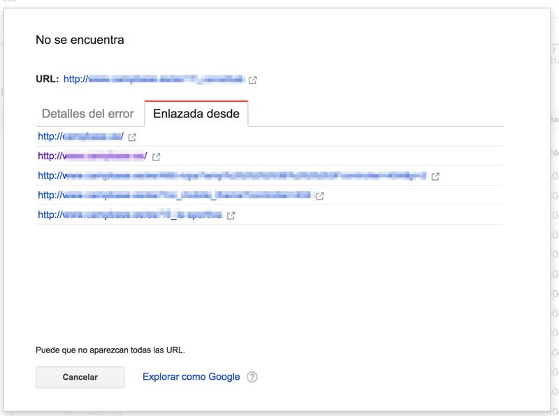 Páginas que enlazan a errores 404